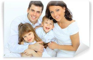 Vinylová Fototapeta Portrét šťastné rodiny s úsměvem do kamery