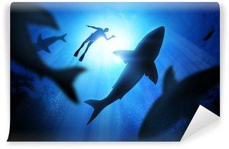 Vinylová Fototapeta Potápěč a žraloků bílých