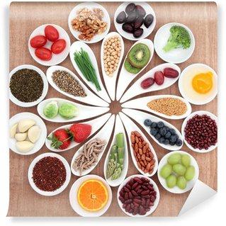 Vinylová Fototapeta Potraviny pro zdravou výživu talíř