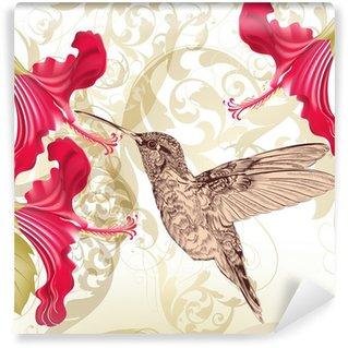 Vinylová Fototapeta Použít krásná vektorové pozadí s kolibříka a květiny