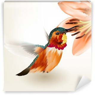 Vinylová Fototapeta Použít krásná vektorové realistický hučení pták s lilií