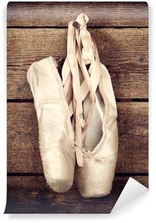 Vinylová Fototapeta Použité baletní boty visí na dřevěném pozadí