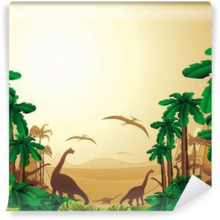 Vinylová Fototapeta Pozadí Dinosauři Dinosauři Jurassic Jurassic krajina