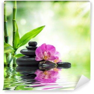 Vinylová Fototapeta Pozadí lázně - orchideje černé kameny a bambus na vodě