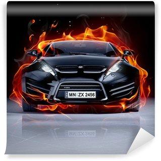 Fototapeta Vinylowa Pożar samochodu na lodzie. Brandless samochód sportowy.
