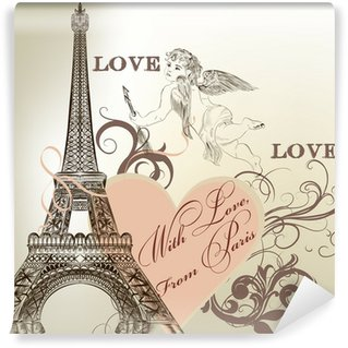 Vinylová Fototapeta Pozdrav Valentine karta s detailní vektorové Eiffelova věž