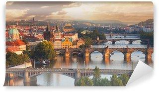 Vinylová Fototapeta Praha, pohled na řeku a mosty Vltavy
