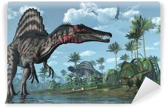 Vinylová Fototapeta Pravěké scéna s Spinosaurus a Psittacosaurus dinosauři