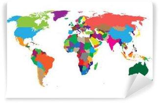 Vinylová Fototapeta Prázdné barevné politická mapa světa na bílém pozadí. Mapa světa vektorové šablony pro webové stránky, infografiky, výprava. Flat Earth ilustrace mapa světa.