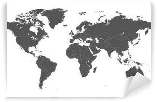 Vinylová Fototapeta Prázdné šedá politická mapa světa na bílém pozadí. Worldmap Vector šablona pro webové stránky, infografiky, výprava. Flat Earth ilustrace mapa světa.