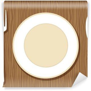Vinylová Fototapeta Prázdný talíř s vidličkou a nožem na dřevěné pozadí