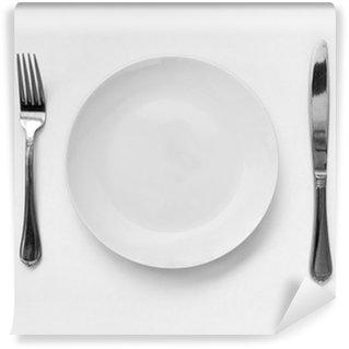 Vinylová Fototapeta Prázdný talíř s vidličkou a nožem