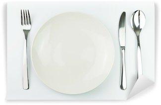 Vinylová Fototapeta Prázdný talíř s vidličkou, nožem a lžící