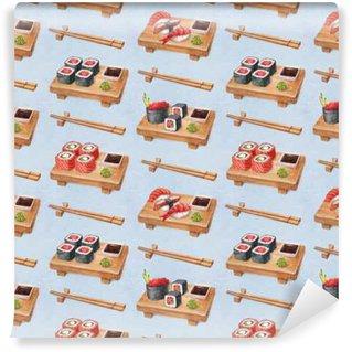 Fototapeta Vinylowa Pyszne sushi. Akwarela bez szwu deseń