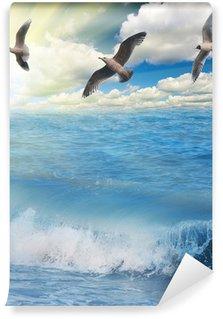 Vinylová Fototapeta Racci letící nad slunné modré moře