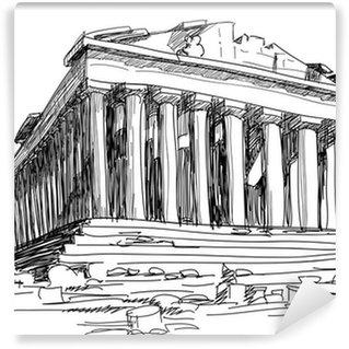 Vinylová Fototapeta Řecko Parthenon náčrtek