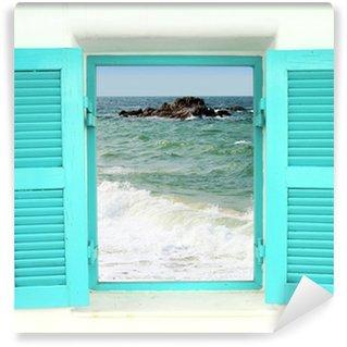 Vinylová Fototapeta Řecký styl okna s výhledem na moře