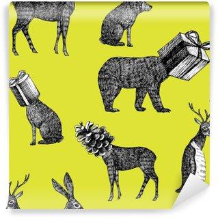 Fototapeta Vinylowa Ręcznie rysowane zwierzęta zima bez szwu tła
