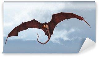 Vinylová Fototapeta Red Dragon Útok ze zatažené obloze