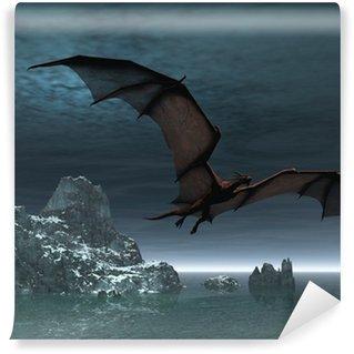 Vinylová Fototapeta Red Dragon v noci