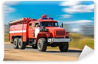 Vinylová Fototapeta Red fire truck