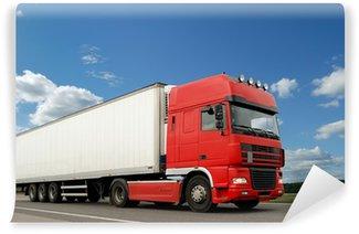 Vinylová Fototapeta Red nákladní automobil s přívěsem bílé přes modrou oblohu