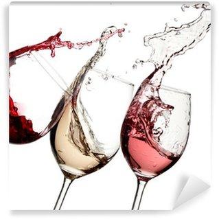 Fototapeta Winylowa Red, rose i białe wino w górę
