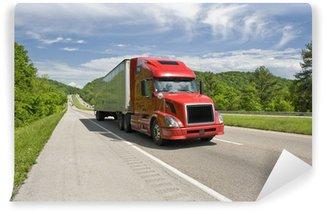 Vinylová Fototapeta Red Semi Truck na Interstate v jarní
