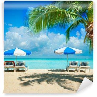 Vinylová Fototapeta Rekreační a cestovní ruch koncept. Lehátka na Paradise Beach