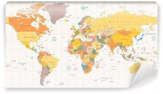 Vinylová Fototapeta Retro barvy politická mapa světa