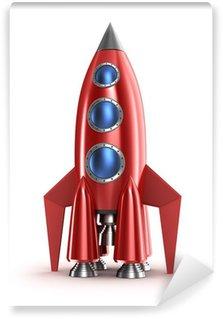 Vinylová Fototapeta Retro červená raketa koncept. Izolovaných na bílém.