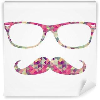 Fototapeta Winylowa Retro hipster twarz ikony geometryczne