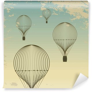 Vinylová Fototapeta Retro horkovzdušný balón pozadí oblohy starý papír textury. Ročník