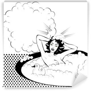Fototapeta Vinylowa Retro kobieta w kąpieli nago z kaczej mycia głowy z bąbelkami