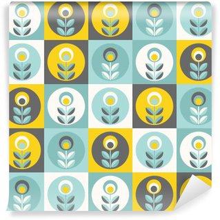 Vinylová Fototapeta Retro květinovým vzorem, geometrické bezešvé květiny