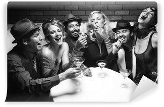 Fototapeta Vinylowa Retro, mężczyźni i kobiety ze śmiechem.