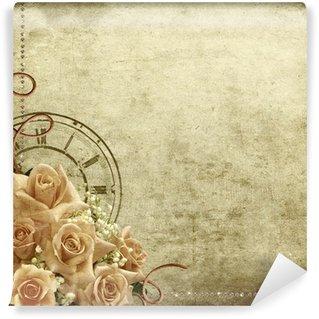 Fototapeta Winylowa Retro romantyczne tło z róż i zegar