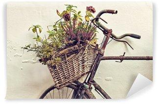 Vinylová Fototapeta Retro stylizovaný obraz staré kolo s košíkem