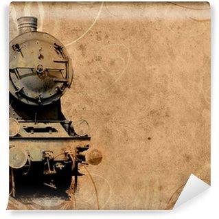 Vinylová Fototapeta Retro vinobraní technologie, starý vlak, grunge pozadí