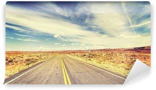 Fototapeta Winylowa Retro vintage old film style endless country highway, USA.