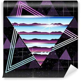 Fototapeta Vinylowa Retrofuturistic chrom i neon tle
