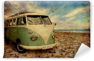 Vinylová Fototapeta Retroplakat - Bulli am Strand