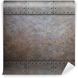 Vinylová Fototapeta Rez ocel kovový textura s nýty jako steampunk pozadí