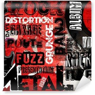 Vinylová Fototapeta Rock Music plakát na červené zdi