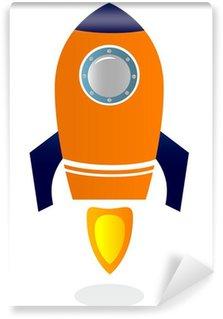 Vinylová Fototapeta Rocket Ship izolovaných na bílém (Blue & orange)