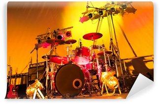 Vinylová Fototapeta Rocková kapela stage set-up s bubny, kytary a reflektory