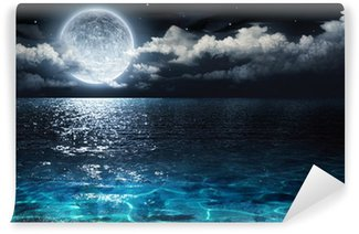 Vinylová Fototapeta Romantické a malebné panorama s úplňkem na moři do večera