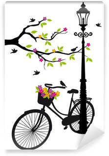Fototapeta Vinylowa Rower z lampy, kwiaty i drzewa, wektor
