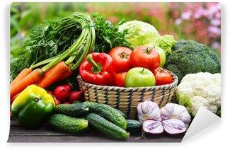 Vinylová Fototapeta Rozmanitost čerstvé bio zeleniny v zahradě