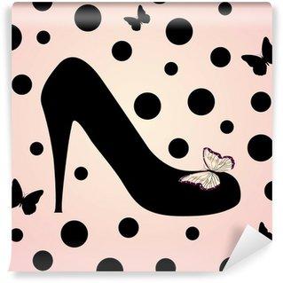 Fototapeta Winylowa Różowe buty mody w tle